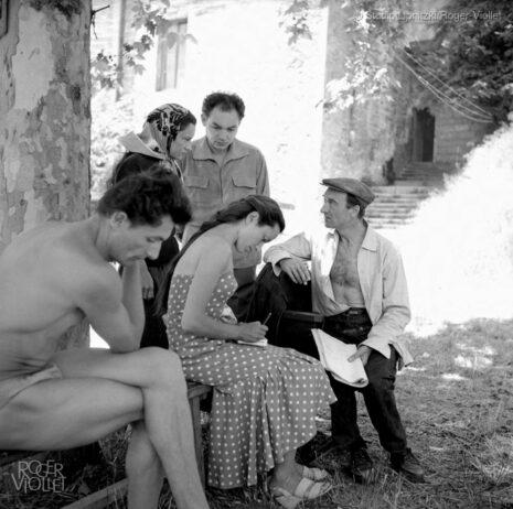 Maria Casarès, Monique Chaumette, Jean Vilar et Georges Lycan. Festival d'Avignon, juillet 1954.