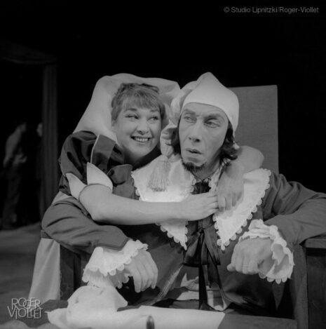 Le Malade imaginaire de Molière. Daniel Sorano et Zanie Campan. Paris, TNP, novembre 1957